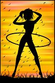 Silhouette Of A Slender Woman Doing Exercises With Hula-hoop On The Sunset Sky Background