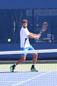 Professional tennis player Robin Haase practices for US Open 2014