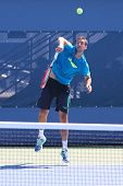 Professional tennis player Marin Cilic practices for US Open 2014