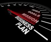 foto of statements  - A speedometer with needle pointing to the words Business Plan - JPG