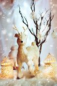 Christmas Decoration With Fairy White Deer