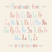 Simple colorful hand drawn font. Complete abc alphabet set. Vector letters and numbers.