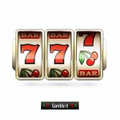 picture of machine  - Game gamble casino slot machine realistic isolated on white background vector illustration - JPG