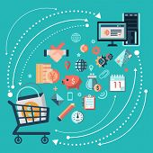 picture of trade  - Online shopping trading concept with cart and computer monitor vector illustration - JPG