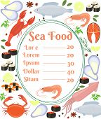 Colorful vector seafood menu poster