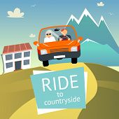 stock photo of car ride  - Vector Ride to Countryside Design with Two Men Riding on a Car - JPG