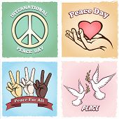 image of v-day  - Day of Peace poster desigs with the international peace symbol  a heart cupped in a hand  three multiethnic hands giving a v - JPG