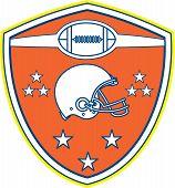 American Football Helmet Stars Shield Retro