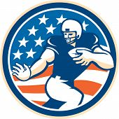 stock photo of scat  - Illustration of an american football gridiron player running back with ball fending facing front set inside circle with american stars and stripes in the background done in retro style - JPG
