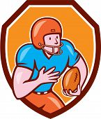 pic of scat  - Illustration of an american football gridiron wide receiver player running with ball set inside shield crest on isolated background done in cartoon style - JPG