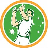 Australian Cricket Fast Bowler Bowling Ball Circle Cartoon
