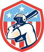 picture of hitter  - Illustration of a american baseball player batter hitter holding bat set inside shield crest with stars and stripes in the background done in retro style - JPG
