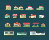 Set of flat design buildings pictograms