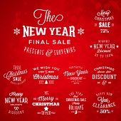 Christmas and New Year Vintage Typography Labels Holidays Sales and Discounts on Red Background