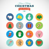 Flat Style Christmas Vector Icon Set With Gift Box Santa Candle Cane Sheep Sock Bells and Snowman
