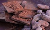 stock photo of cocoa beans  - Chocolate chunks - JPG