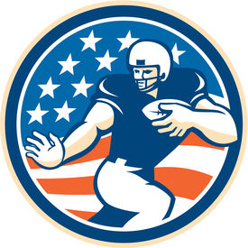image of scat  - Illustration of an american football gridiron player running back with ball fending facing front set inside circle with american stars and stripes in the background done in retro style - JPG