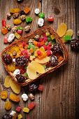 Dried Fruits Mix On Wooden Background