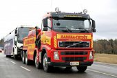 Volvo FH13 Heavy Duty Tow Truck Tows A Bus