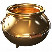 stock photo of gold panning  - cauldron of gold empty 3d Rendered with clipping path - JPG