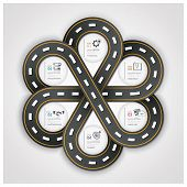 Road And Street Traffic Sign Business Infographic With Weaving Circle Diagram Step