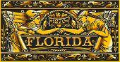 Vintage Florida Label Plaque, Black And Gold