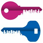 Abstraction. Colored keys and the city on a white background
