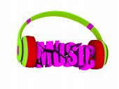 stylish headphones in bright colors, and the word music. for each color and the object retained its