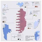 Dot And Flag Map Of State Of Qatar Infographic