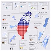 Dot And Flag Map Of Taiwan Republic Of China Infographic Design