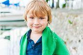 Close up portrait of a cute little boy