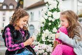 Adorable little girls having fun outdoors