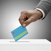 Black Male Holding Flag. Voting Concept - Aruba