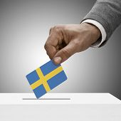 Black Male Holding Flag. Voting Concept - Sweden