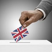 stock photo of voting  - Black male holding flag - JPG