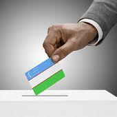 Black Male Holding Flag. Voting Concept - Uzbekistan