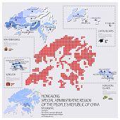 Dot And Flag Map Of Hong Kong Infographic Design