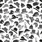 Gray Hats Icons Set Seamless Pattern Eps10
