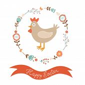 Cute Easter card with chicken