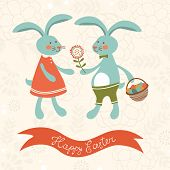 Easter card with cute rabbits couple