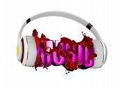 red liquid from the headphones breaks inscription music. stylish white with gold headphones, and the