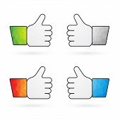 Four Indicators Recommend Thumbs Up With Colorful Sleeves As Like