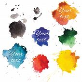 image of backround  - Abstract hand drawn watercolor blots backround - JPG