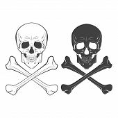 Skull And Bones Hand Drawn, Vector Illustration