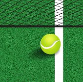 picture of competing  - Tennis Ball Next To The Line Of The Tennis Court - JPG