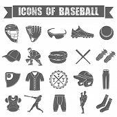 Set of icons of baseball on white isolated background