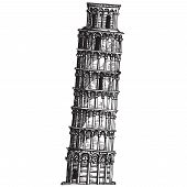 Italy. leaning tower of Pisa on a white background. sketch