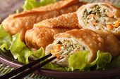 Asian Fried Spring Rolls Sliced On A Plate Macro, Horizontal