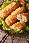 Fried Spring Rolls Sliced On A Plate Closeup. Top View Vertical