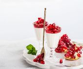 stock photo of pomegranate  - pannacotta  with pomegranate jelly and served pomegranate seeds and mint on a white background - JPG